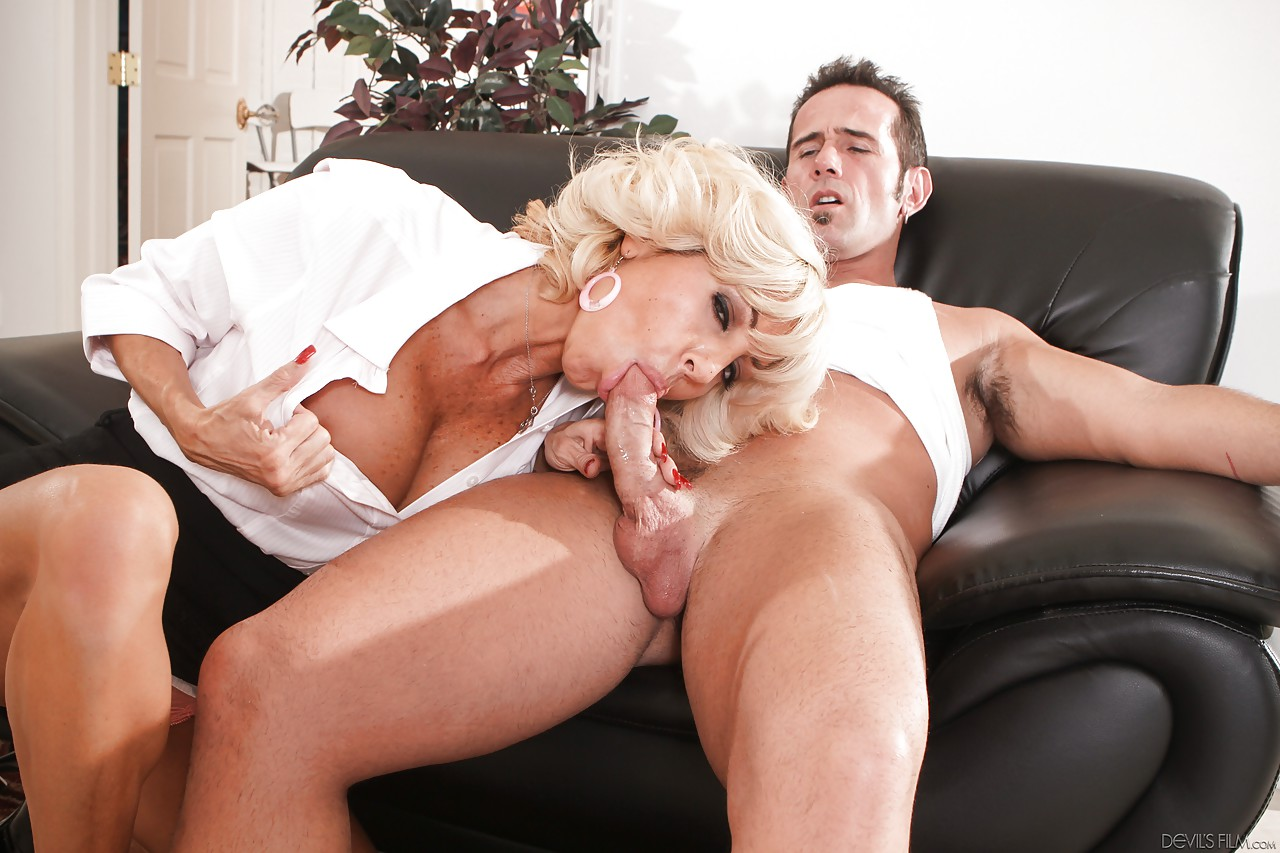 German cleaning lady gets aroused by big white dick