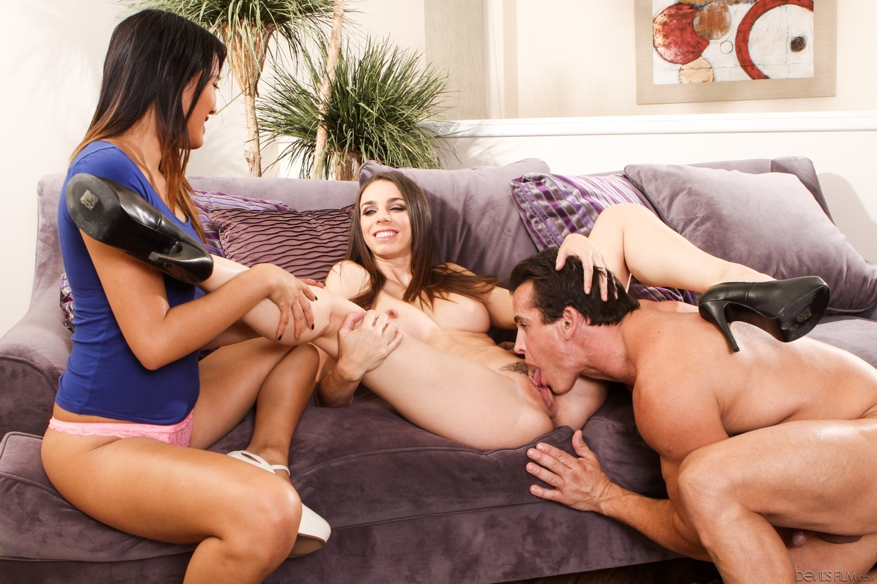 Busty brunette Tiffany Tyler goes pussy to mouth in front of Angelica Chung