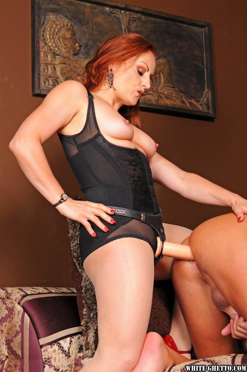 Redheaded Femdom Mistress Pegging Jerking Off Submissive Man In High Heels