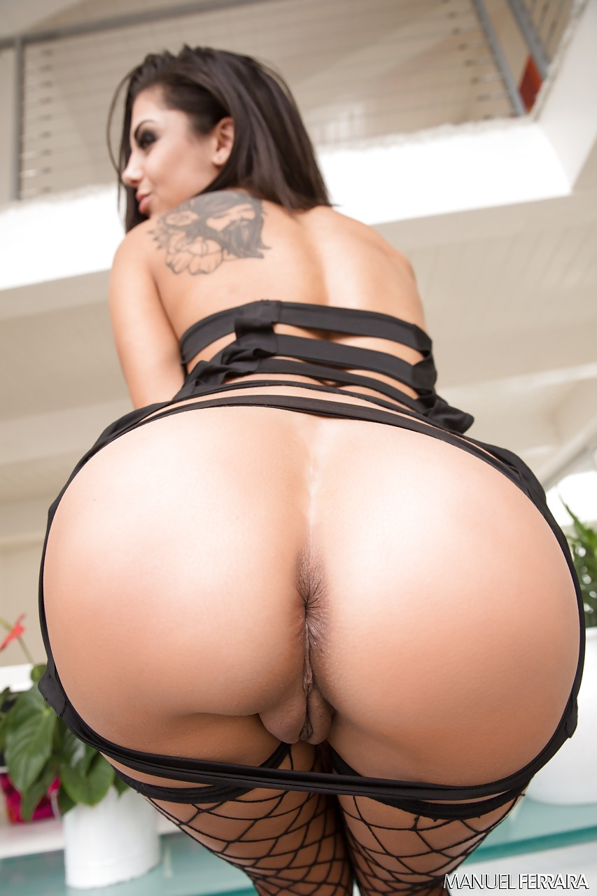 tattooed milf pornstar bonnie rotten toys ass with dildo in fishnet