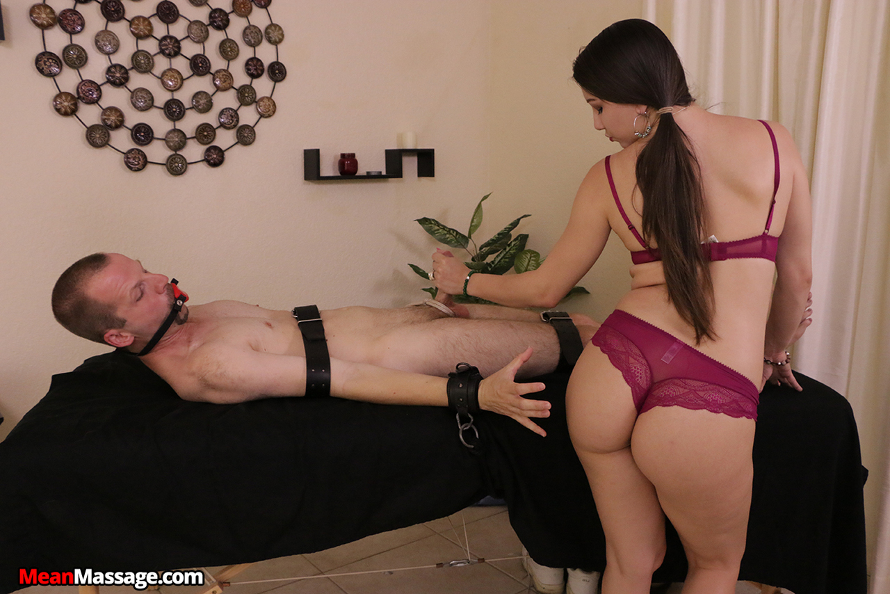 Dark haired masseuse Alex Rodriquez denies a tied up client of an orgasm