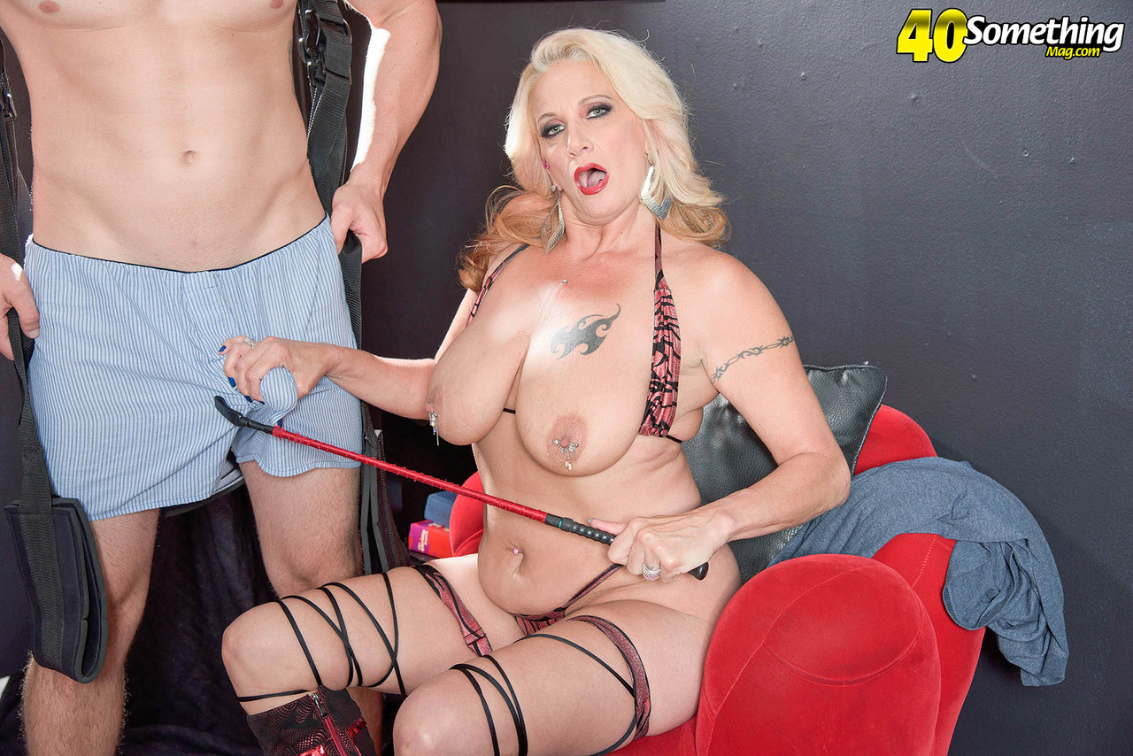 Blonde cougar Brooklynn Rayne rides her toy boys dick on a sex swing