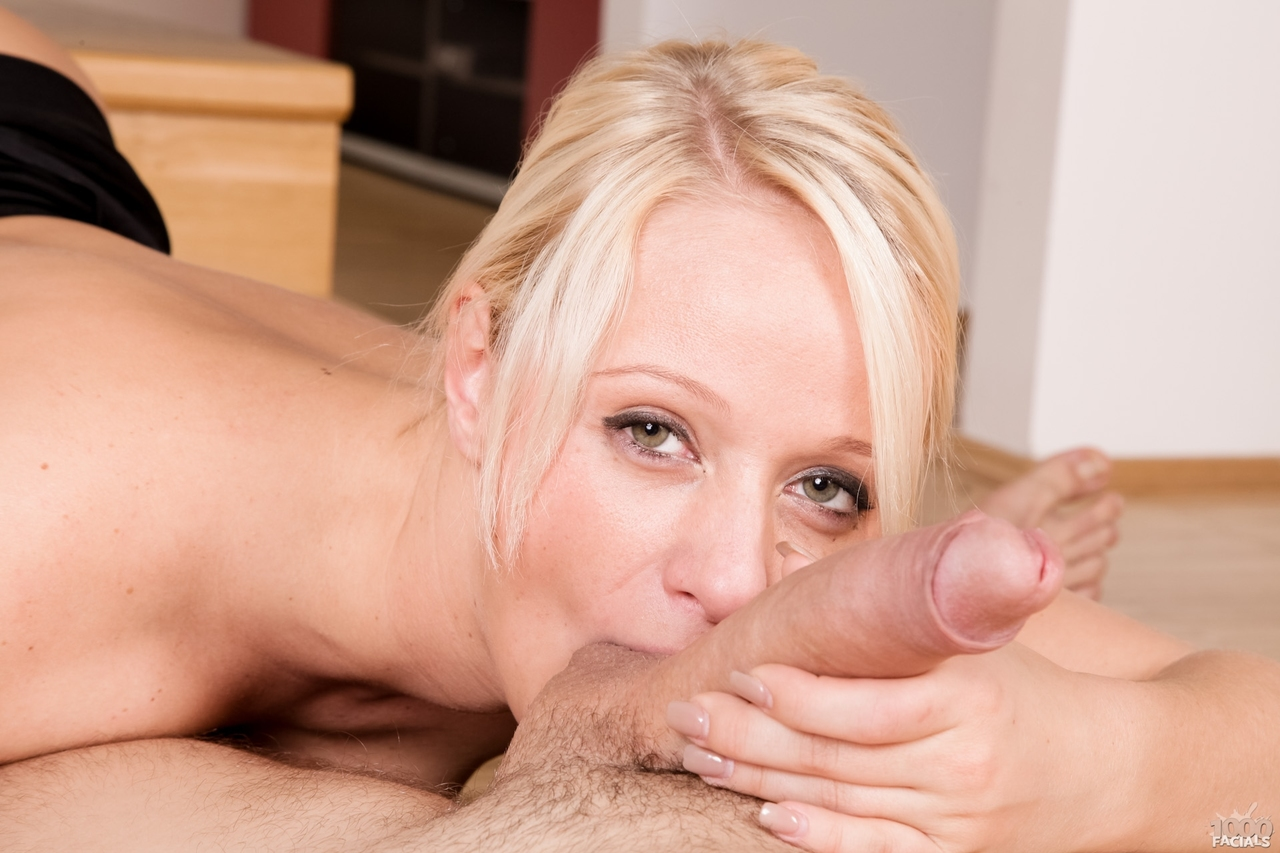Blonde chick with a big butt Lady Pink gets cum in eye while sucking cocks