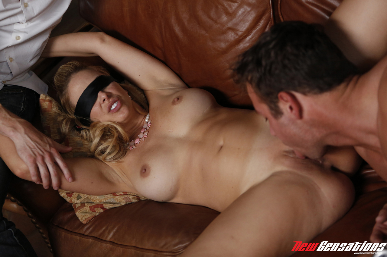 Blonde wife gets blindfolded before fucking her husband's