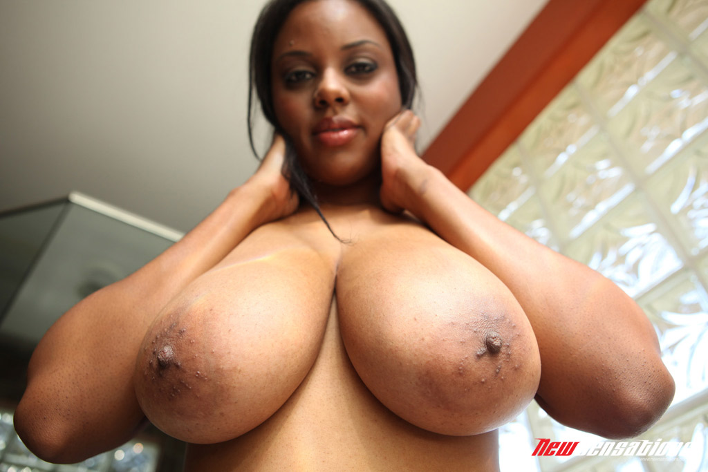 ... Sexy ebony Alia Starr releases her dark big breasts to get them covered  in cum ...