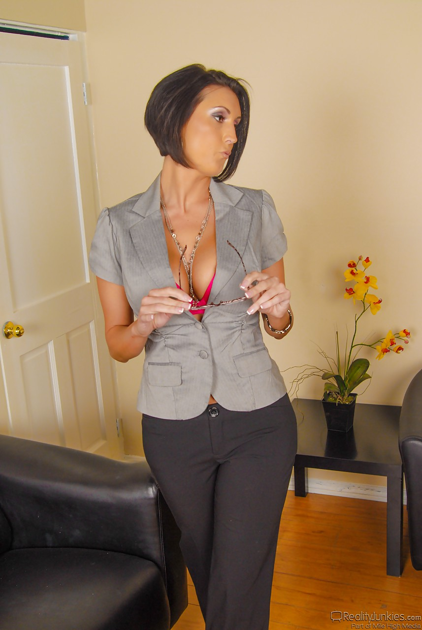 fully clothed mature office lady