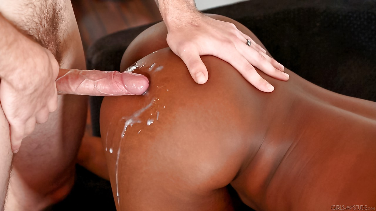 Ebony strapon cum