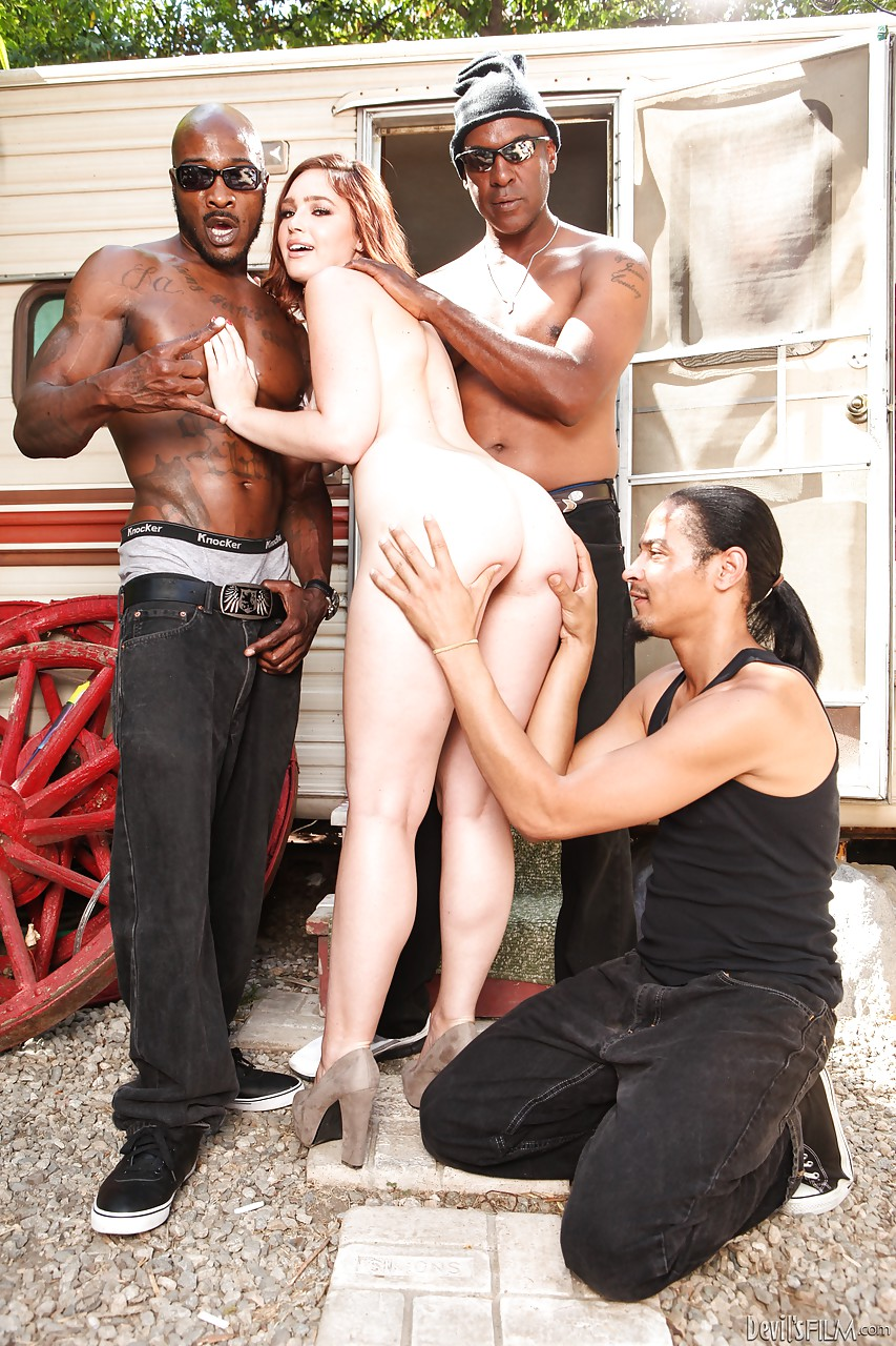 sexy jodi taylor sheds shorts to spread ass for interracial gangbang