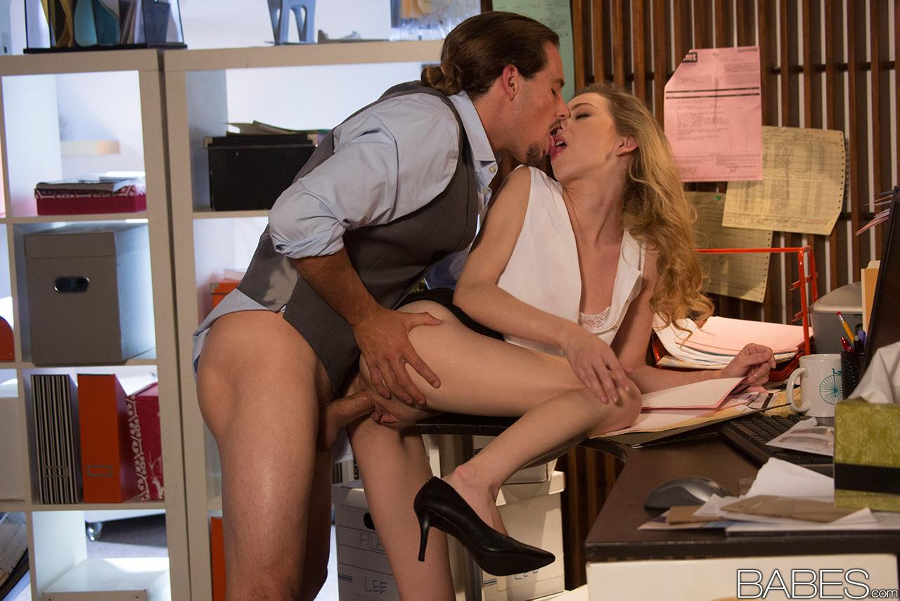 Blonde Fucked In Heels - Cute blonde Angel Smalls wearing glasses and heels in hot office fuck ...