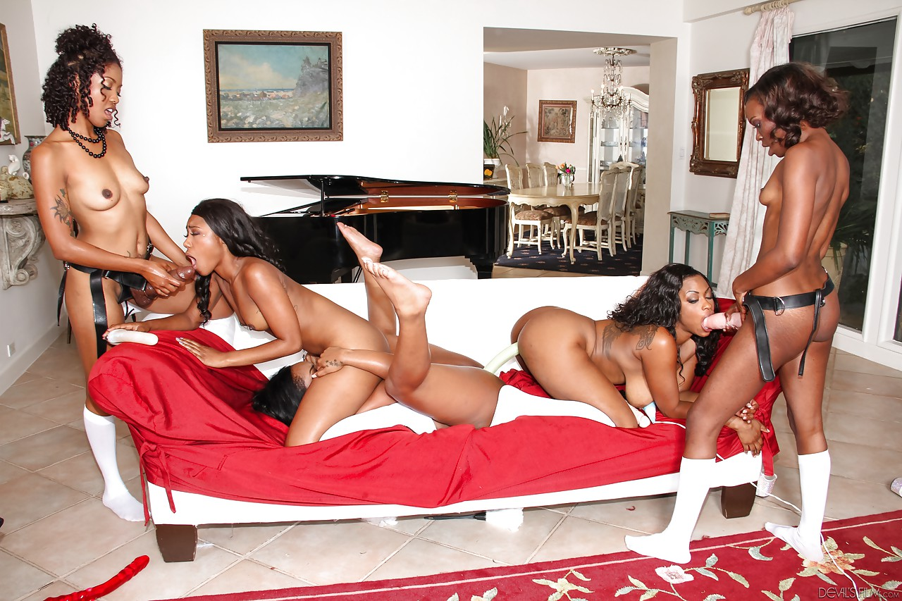 ebony strapon orgy