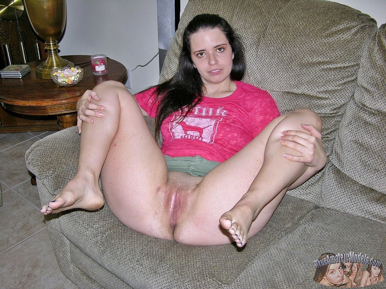 Open Legs Amateur Showing Hairy Pussy