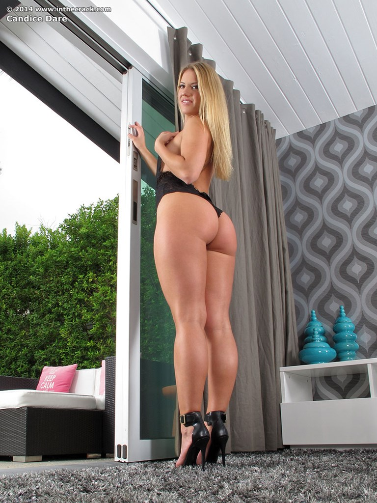Blonde chick Candice Dare rocks her sexy butt while toying her twat and anus