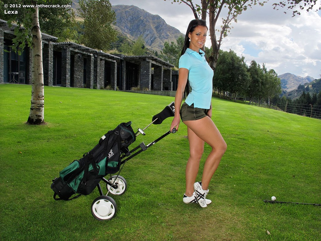 Golf club in her pussy #12