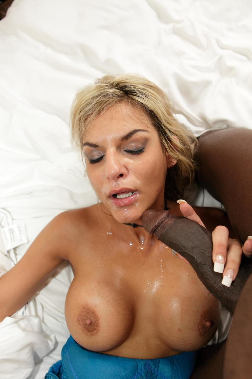 Dirty blonde MILF exposes her big tits before sucking off a BBC