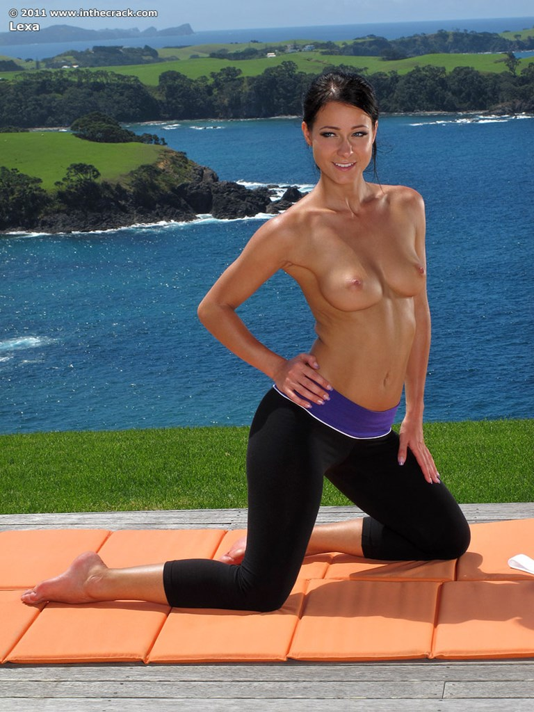 sexy flexible lexa doffs yoga pants to stretch pussy & bare firm ass