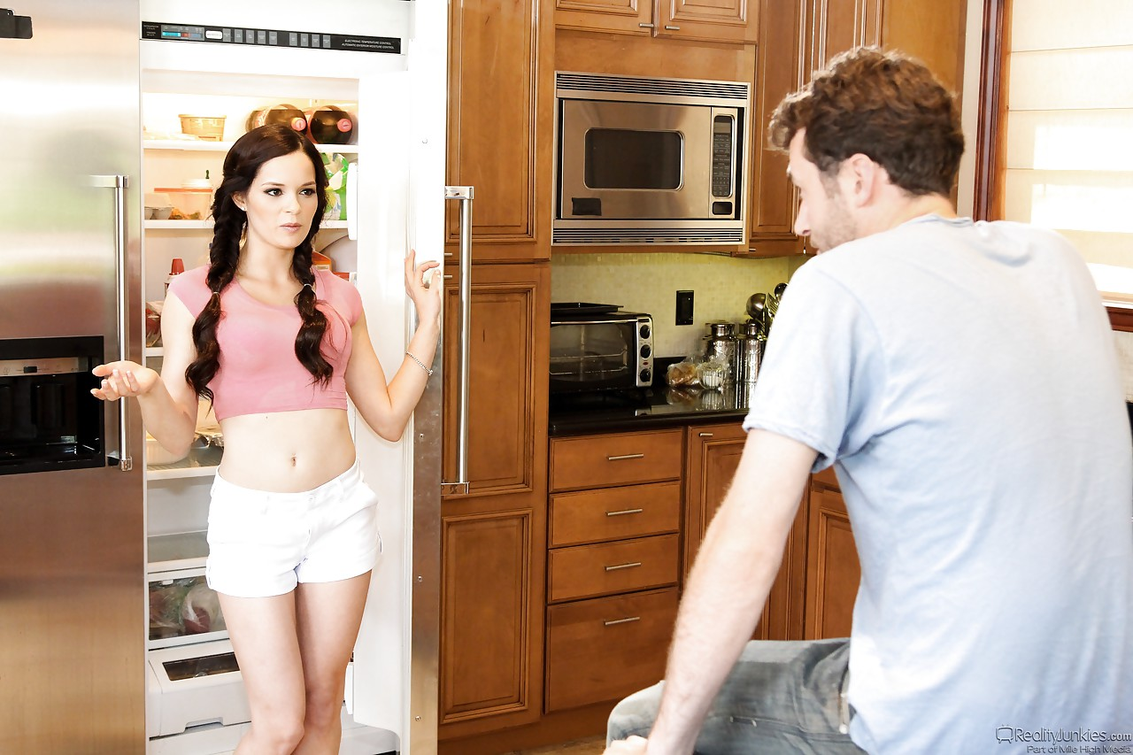 Young Jenna J Rossin pigtails gets a mouthful sucking in reality kitchen fuck