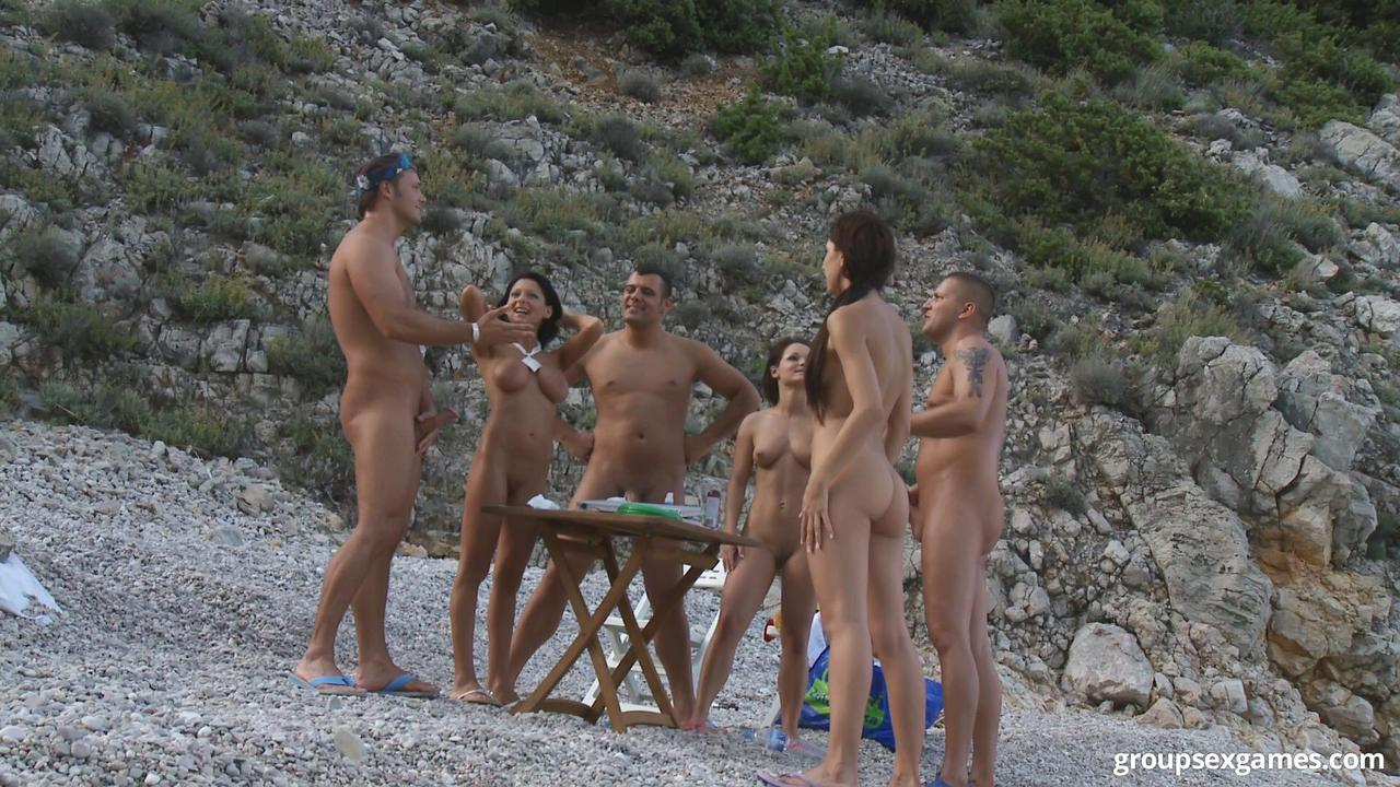 Beach group nudist sex