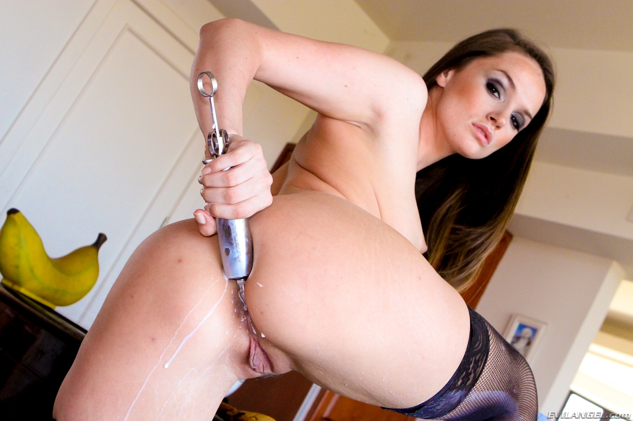 Tight assed brunette enemas