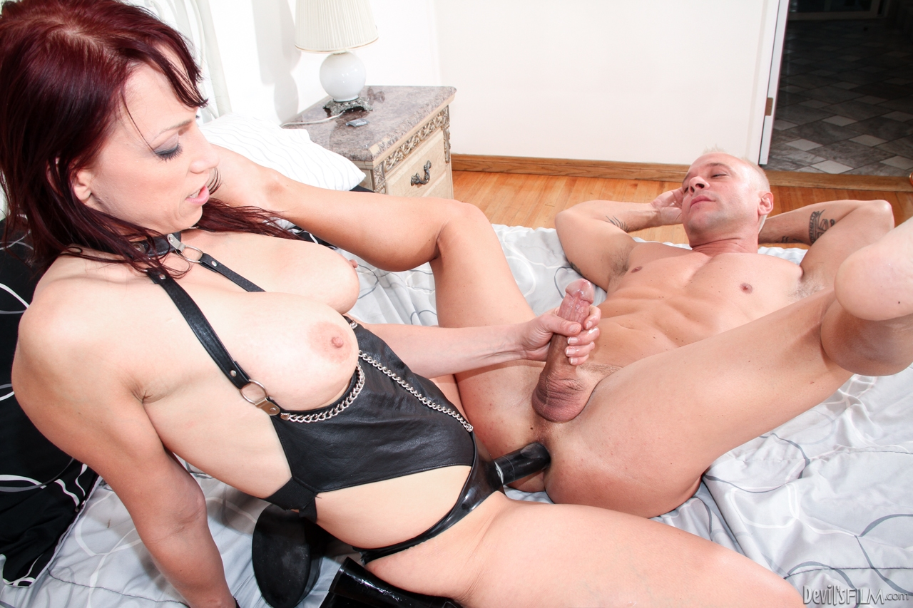 image She dons sexy black stockings to fuck black cock