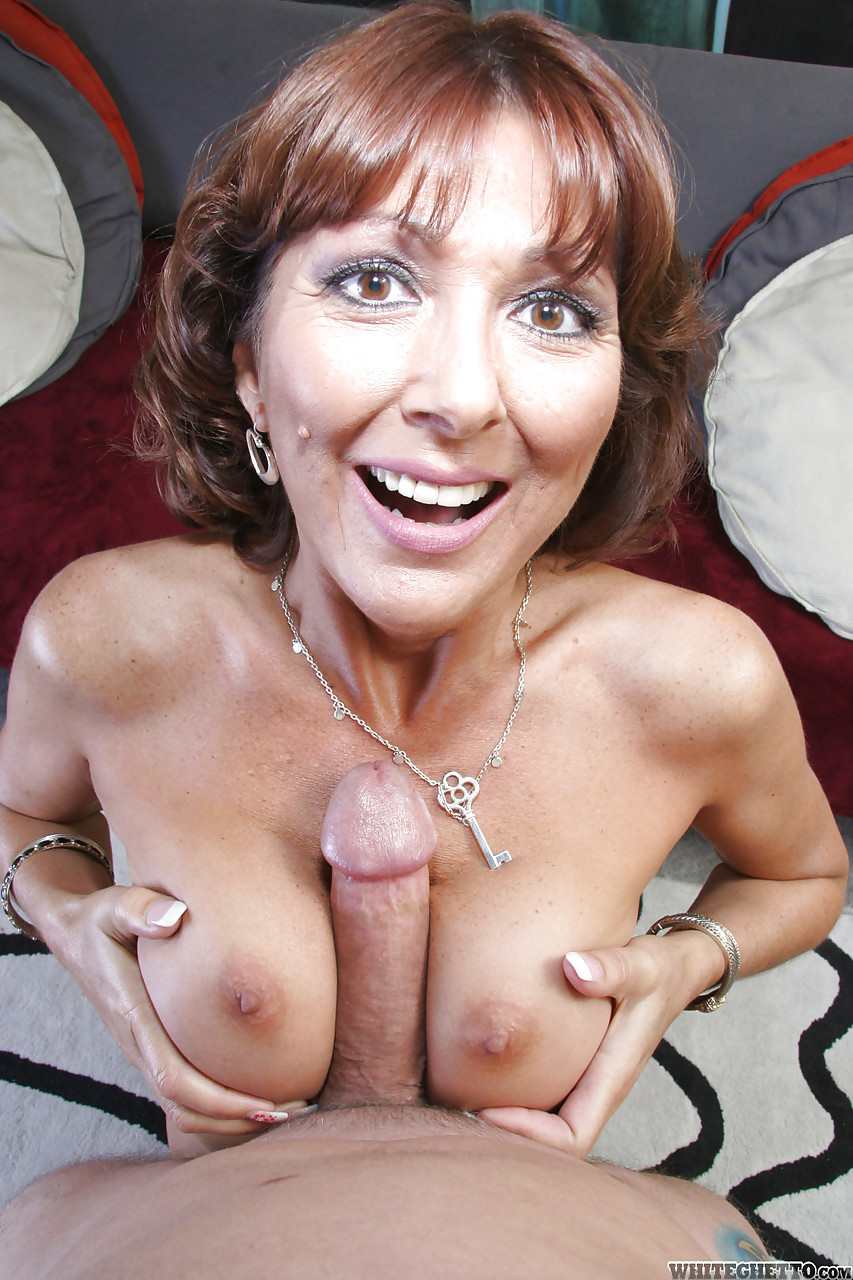 Big tit mature sucks my old cock
