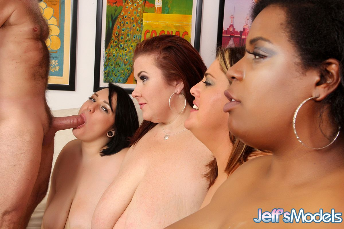4 obese females strip their boss naked for a reverse gangbang