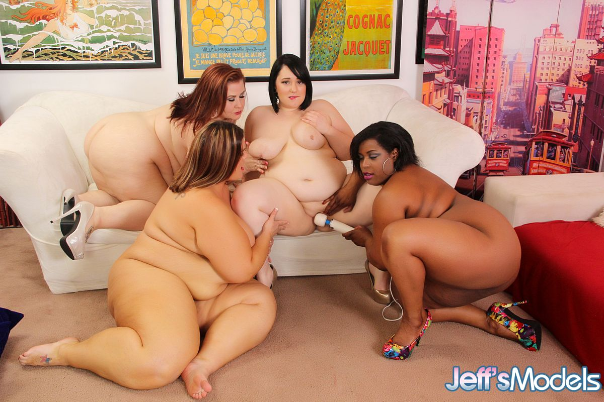 ssbbw girls in heels with huge saggy tits toying with strapon in