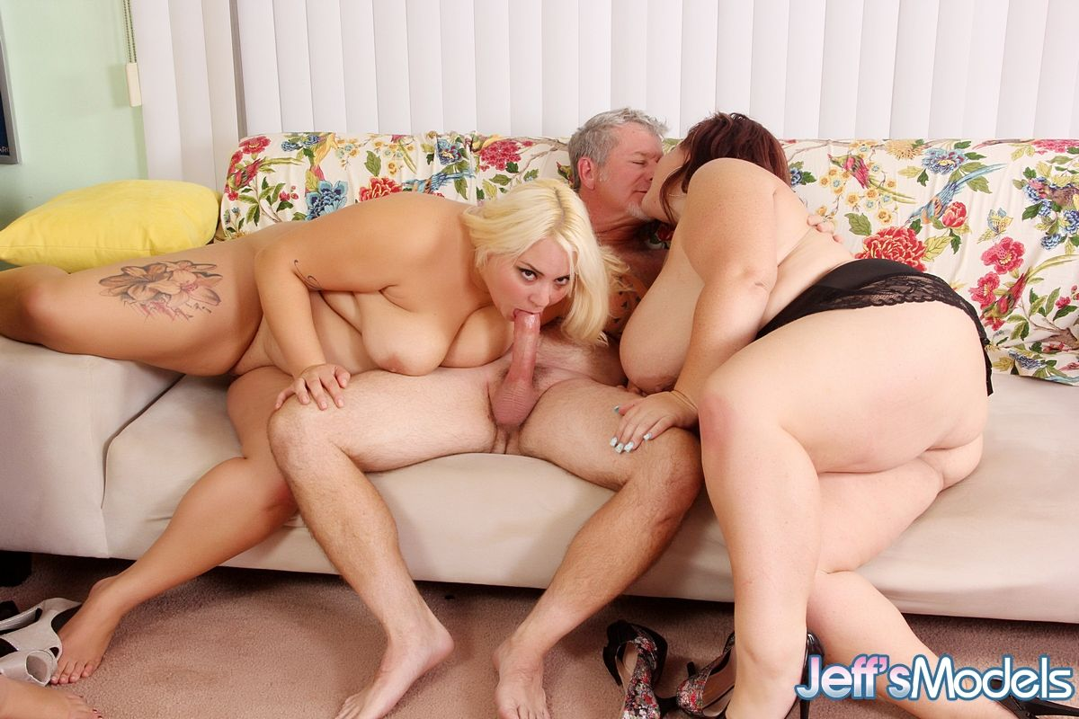 Four busty BBW and two cocks