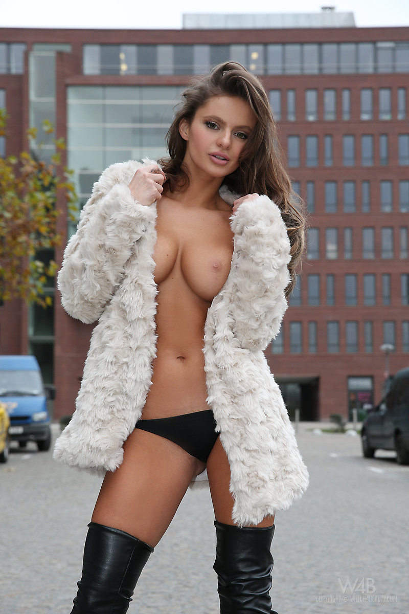 fur coats on naked women