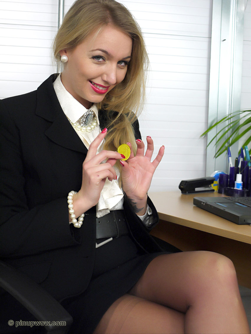 Sexy blonde secretaries in nylons apologise, but