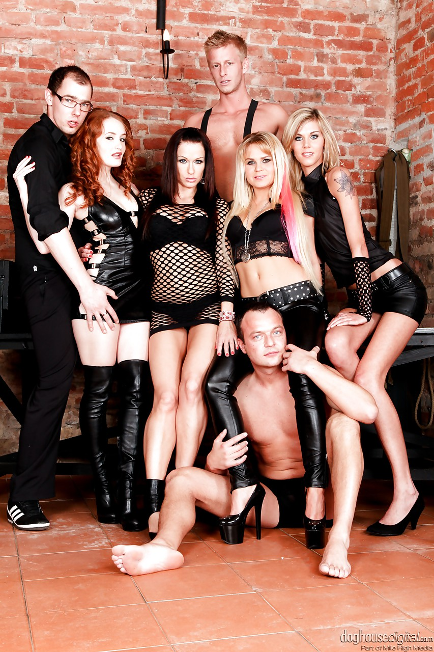 Leather group sex