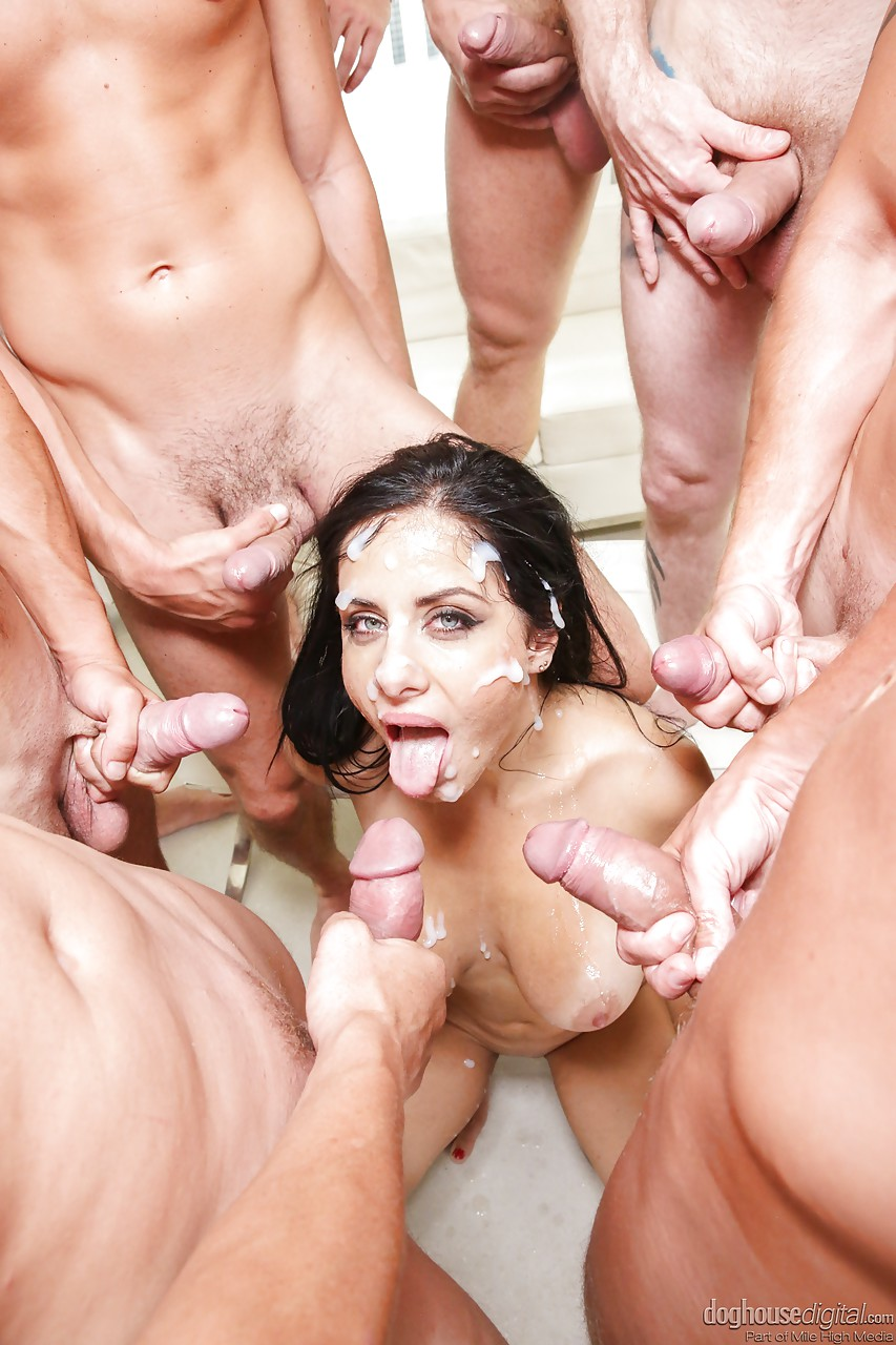 Gang bang with cum on face