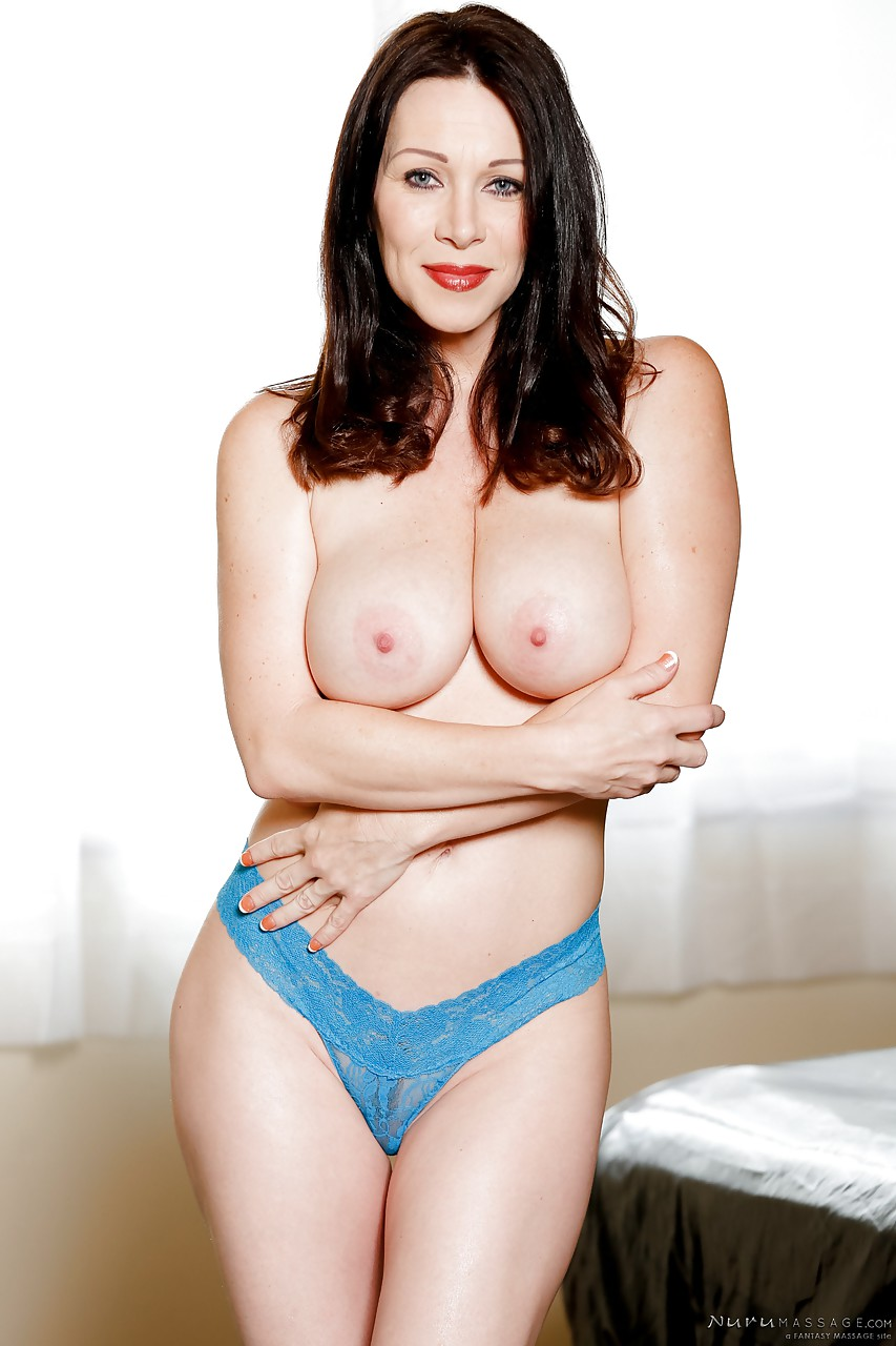 brunette milf rayveness fondles big boobs, gives titjob & gets cum