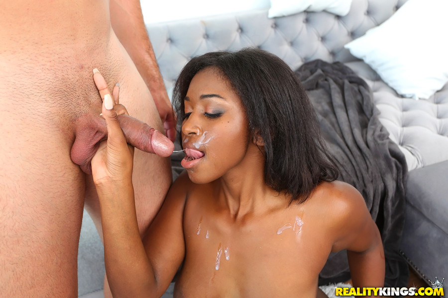 Attractive black girl enjoys a white boner in her ebony booty during lunch