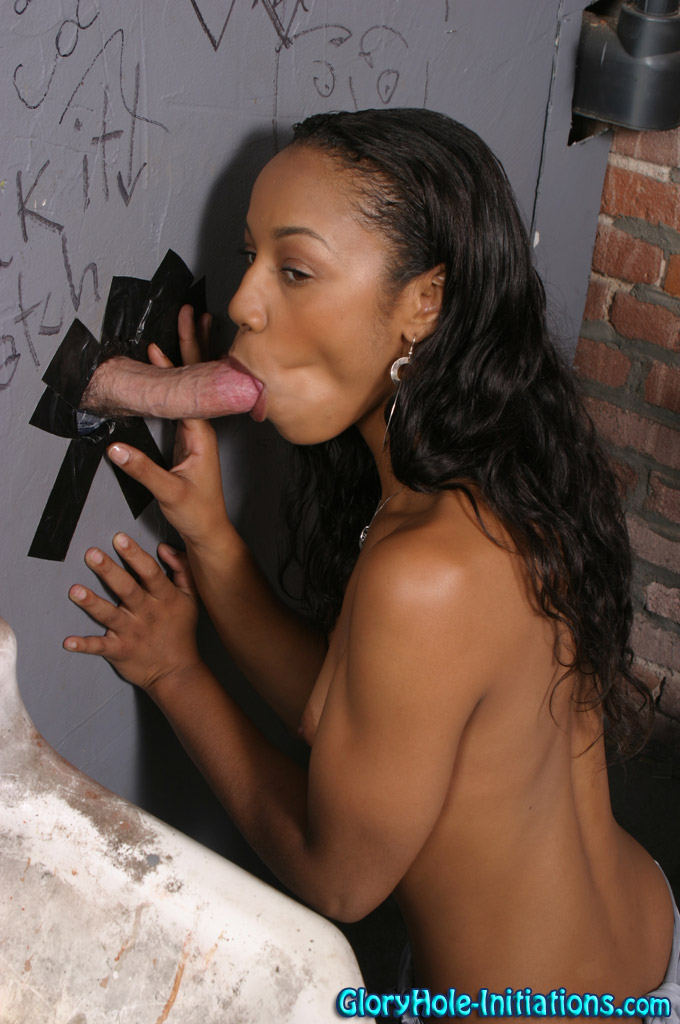 Cute black beauty Misty Stone bares skinny body to take gloryhole mouthful