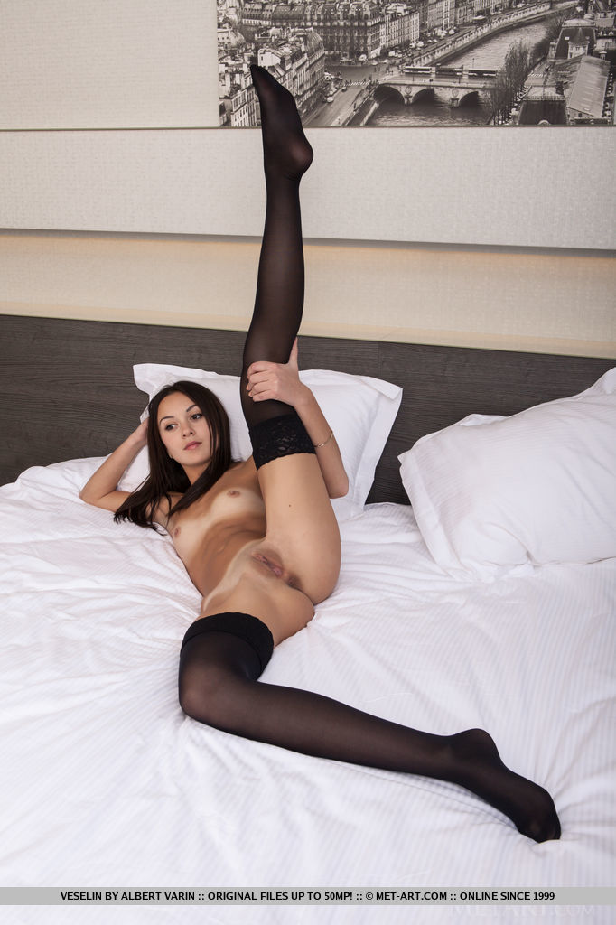 In nylons brunette
