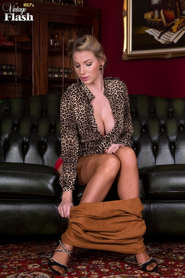 glamour stockings - ... Glamour model Danielle Maye stripping down to lingerie and tan stockings  ...