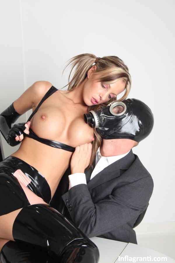 latex mask fuck - ... Hot Lara Love in pigtails & latex gets an office fuck from a guy in a  ...