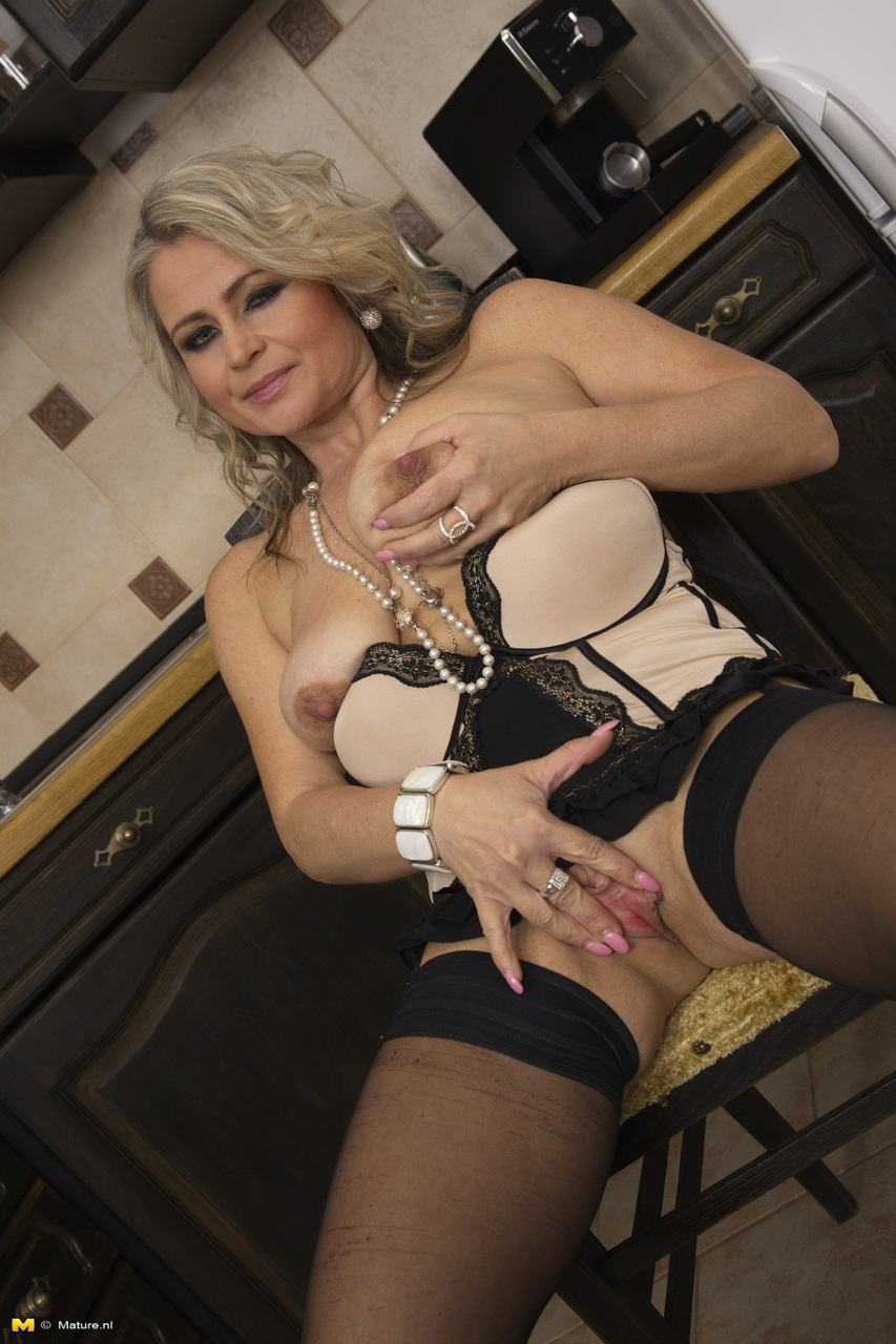 Sexy mature mom's kitchen upskirt leads to fingering and ...