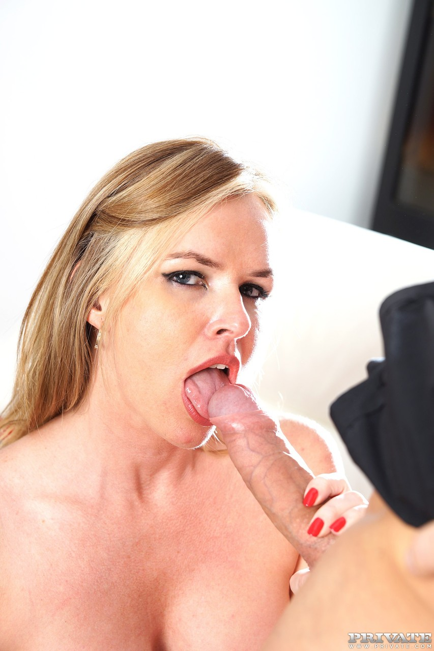 Blonde cougar Summer Rose drips cum from her mouth after sex with younger man