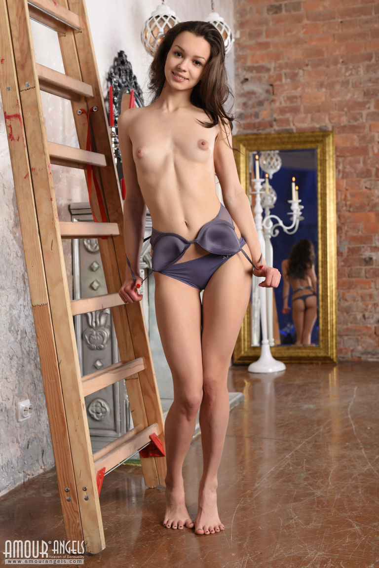 Beautiful Teen Starlet Strips Sexy Lingerie To Pose Spread Naked On The Ladder