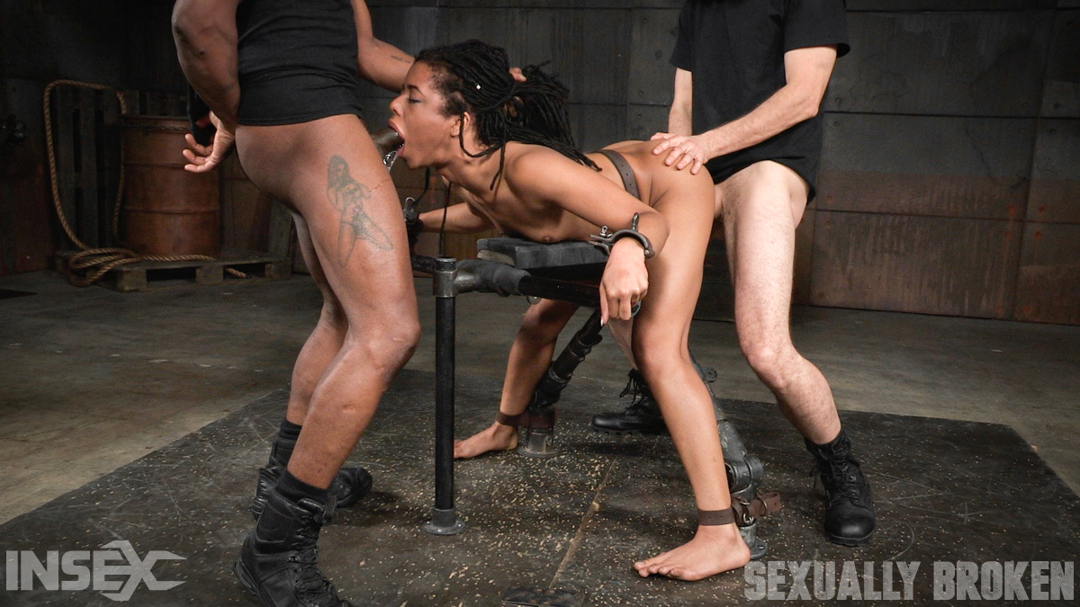 ... Ebony girl Kira Noir is spit roasted by black and white men in a  dungeon ...