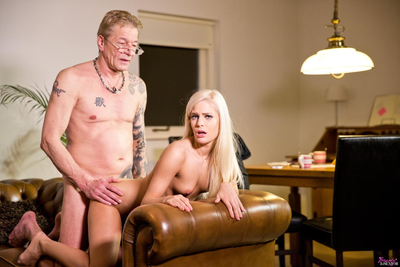 Blonde Granny Takes His Horny Cock