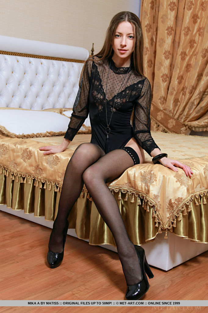 Small Skinny Teen Mika A In Black Stockings Showing Naked Pussy