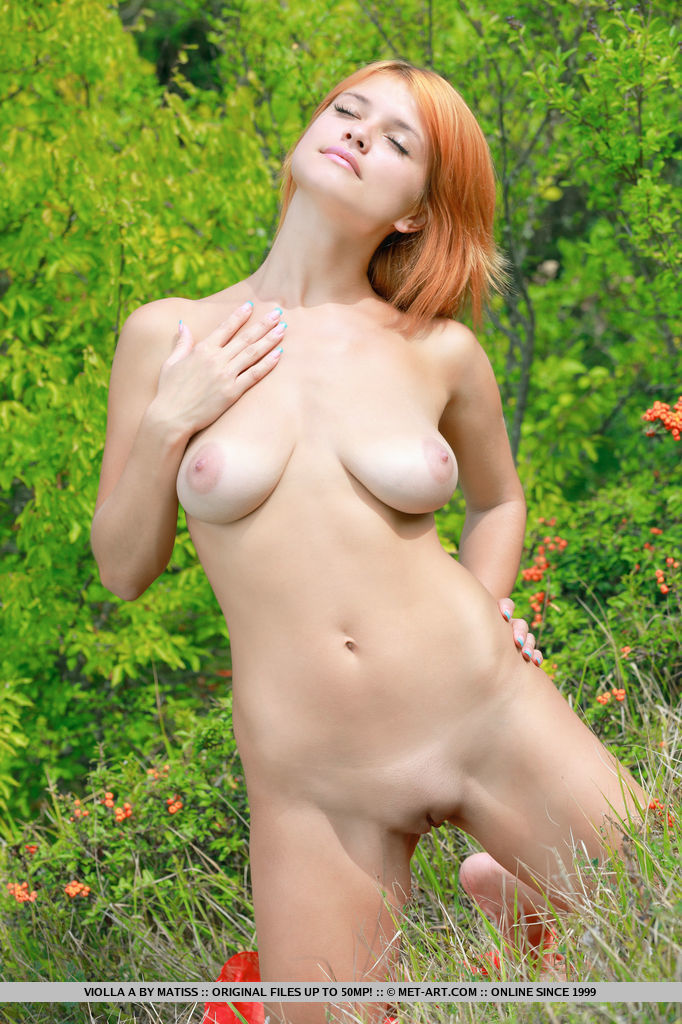 nude redhead violla a exhibits her shaved pussy outdoors in the