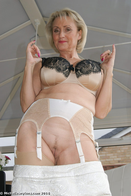 Mature garter belts nylon