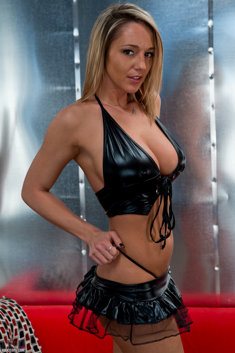 Naked girls in black leather — 8