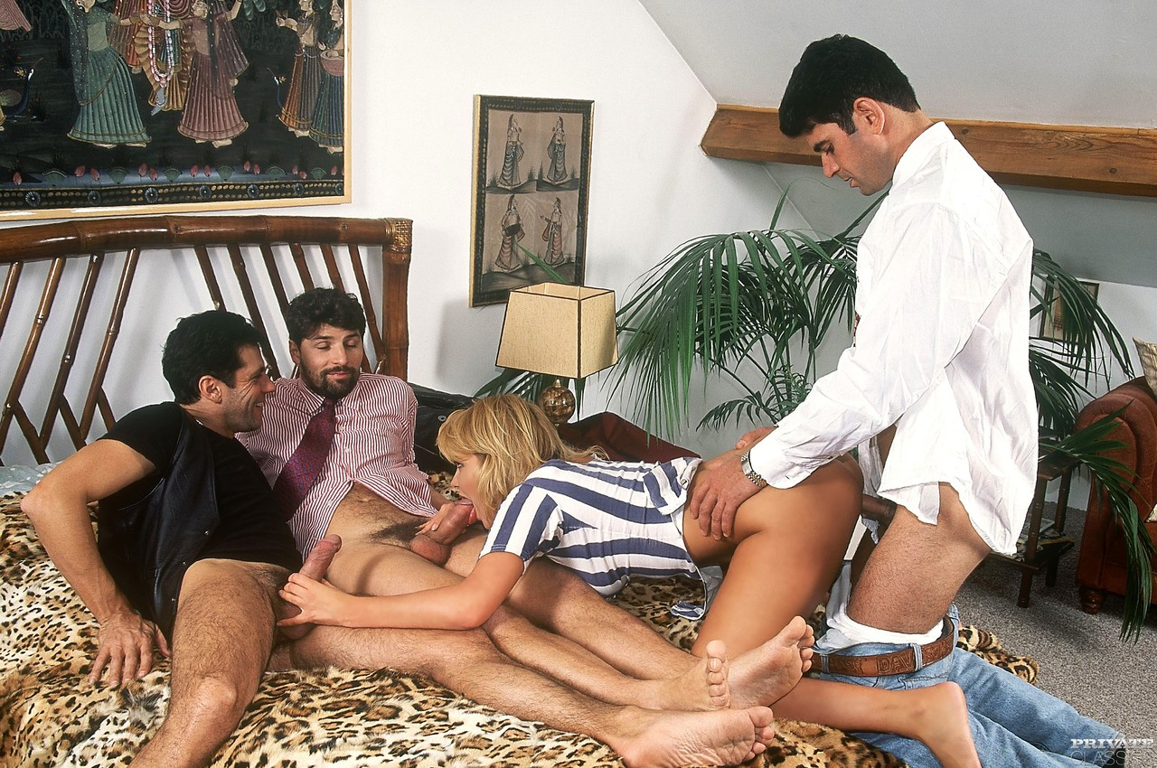 blonde slut anita rinaldi reenacts classic gangbang scene for the