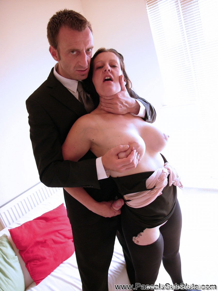Dark haired amateur Missy Kink submits to a dominant male in ripped open hose