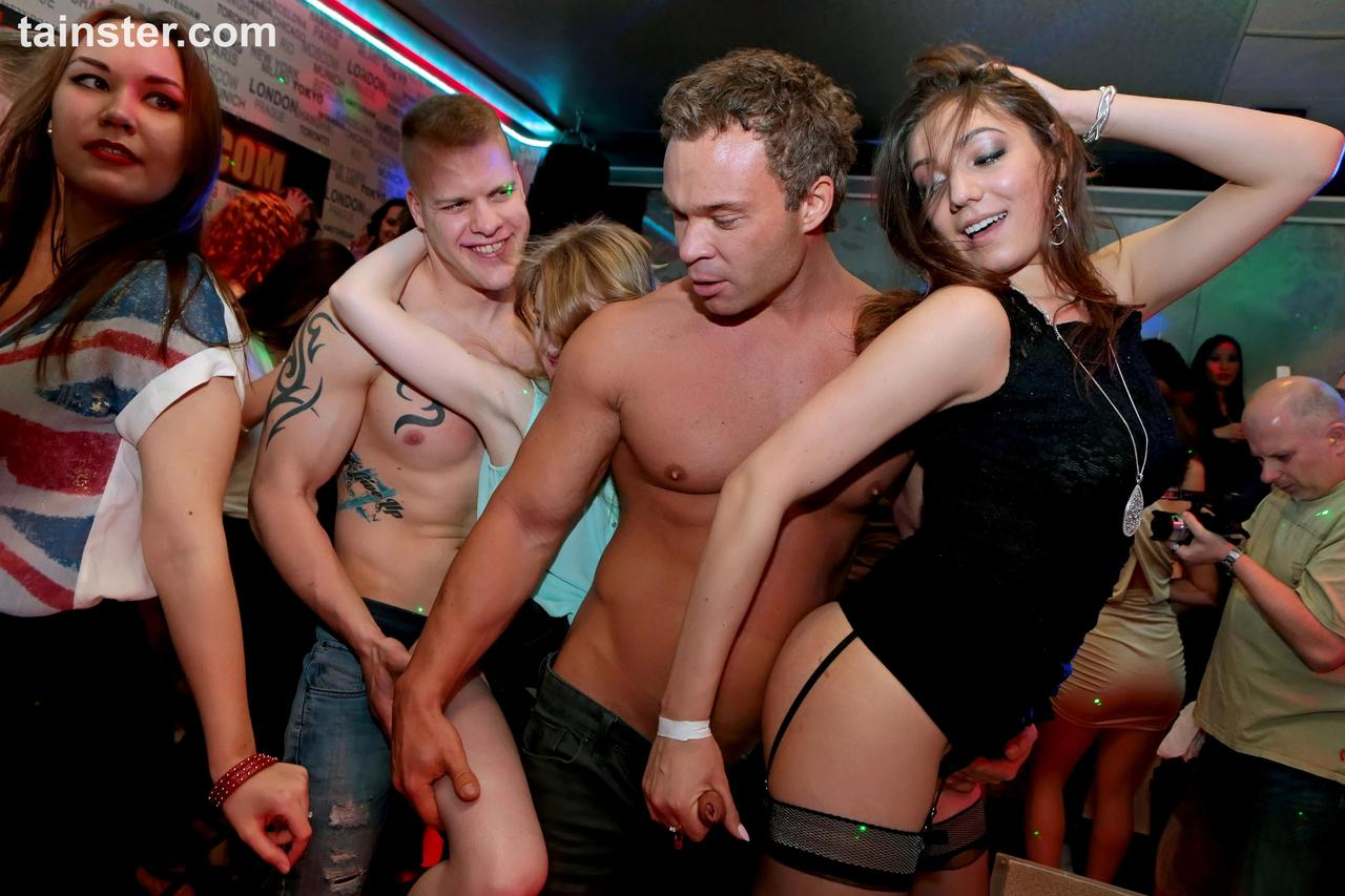 Horny drunken party girls striping and stroking and sucking in wild club fun