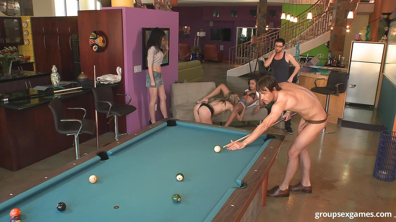 Blonde Fucking On The Pool Table In Public